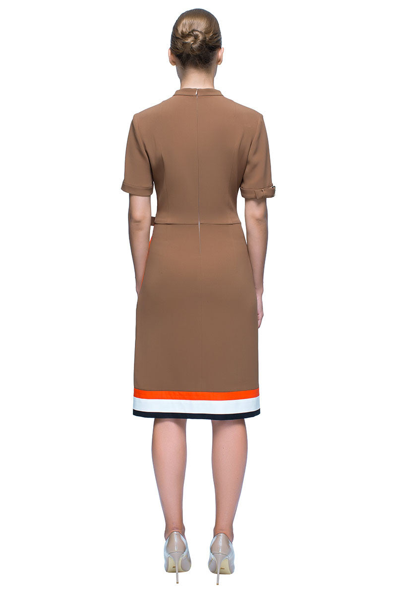 'Ocher Catch' Asymmetric Short Sleeve High Neck Dress