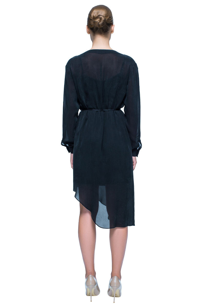 'Quiet Adventure' Black Long Sleeve Asymmetric Silk Shirt Dress