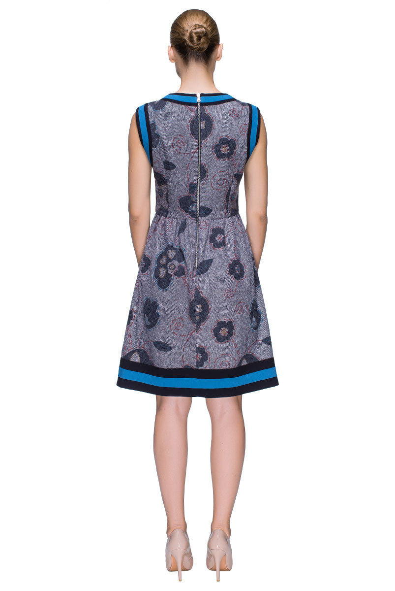 'Flowery Moments' Floral Print, Sleeveless Wool Dress
