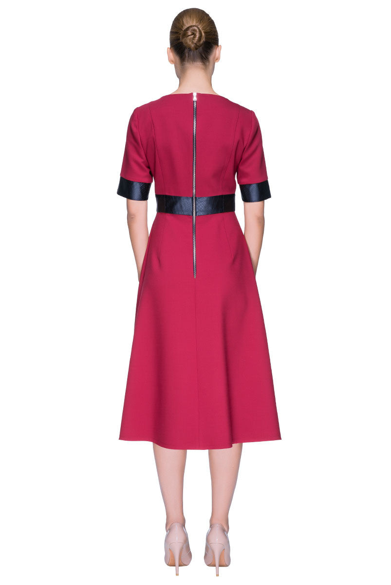 'Cherry Sweet Elegance' Short Sleeve Midi Wool Dress, Decorated With Eco Leather