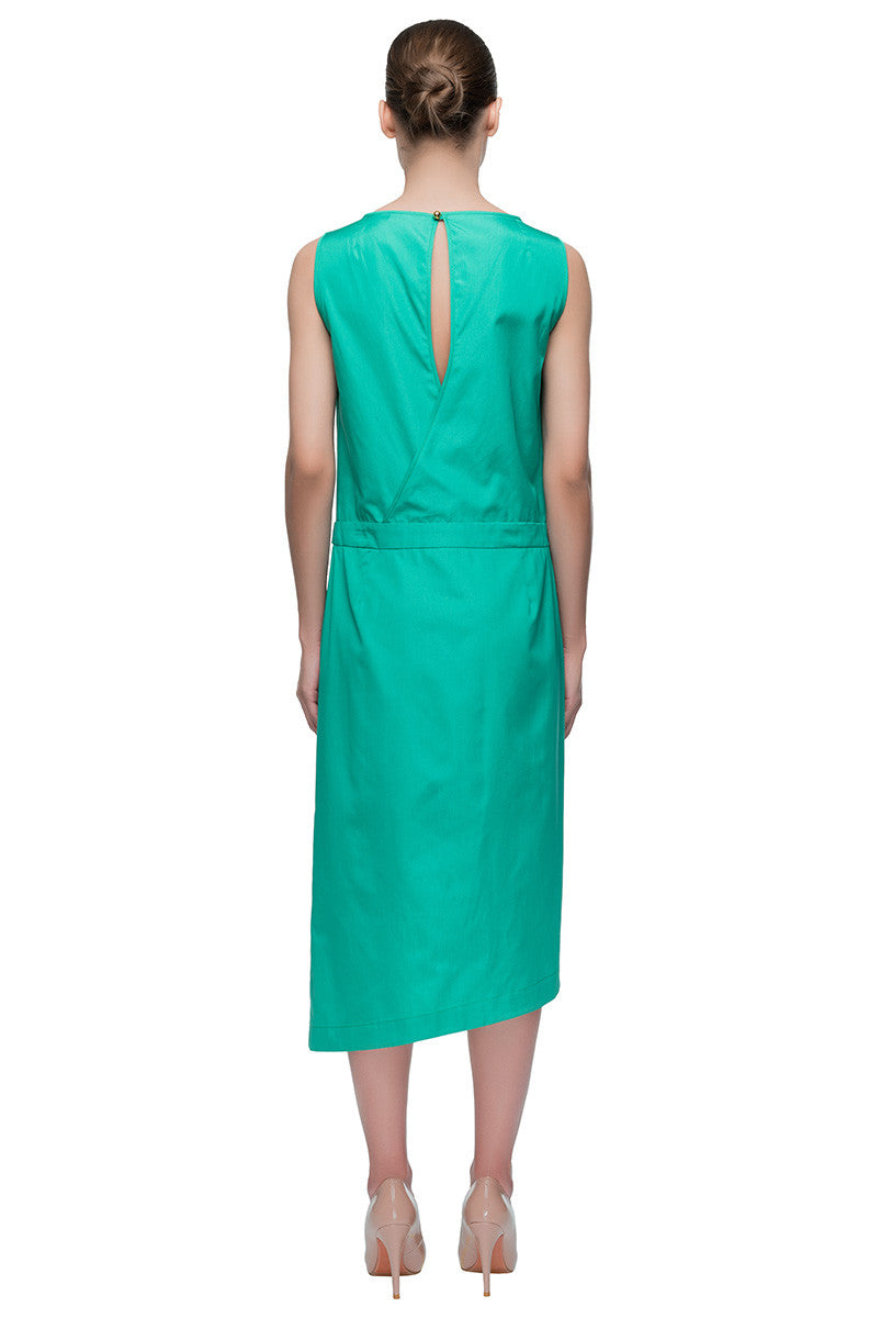 'Green Sensation' Asymmetric Sleeveless Midi Dress