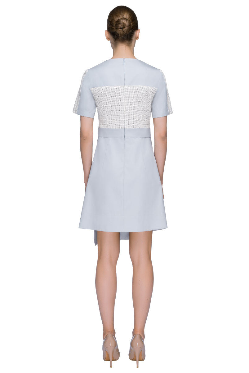 'Young Power' Round Neck Asymmetric Short Sleeve Dress