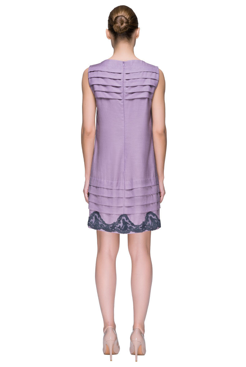 'Lace Lilac Whisper'  Sleeveless Lace Hem Shift Dress
