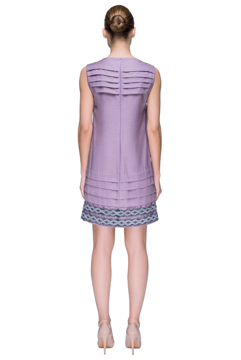 'Lilac Dream Touch'  Sleeveless Decorated Hem Shift Dress