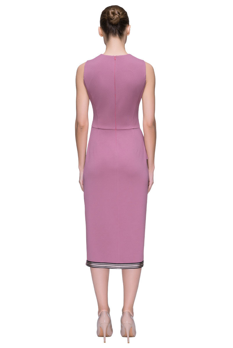 'Posh Rush' Front Slit, Sleeveless Rose Dress