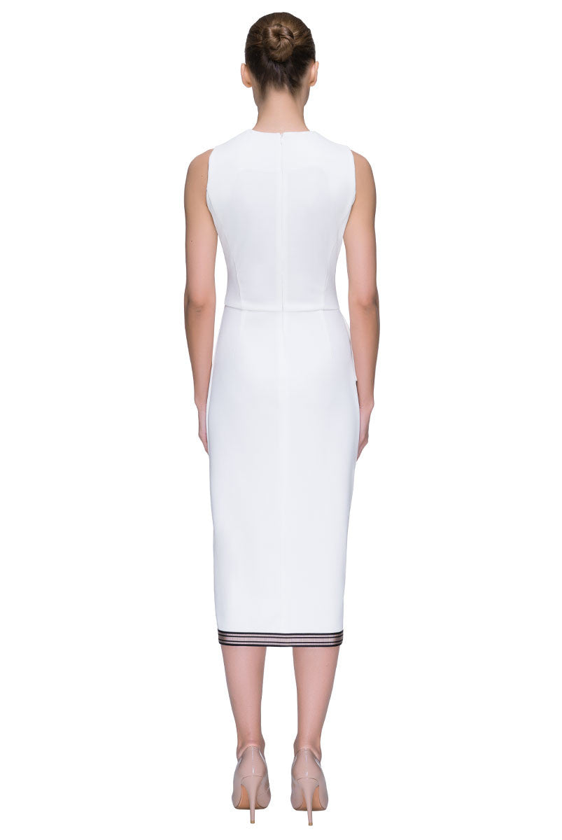 Front Slit, Sleeveless White Dress