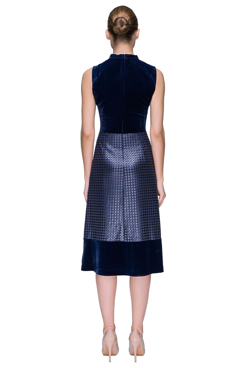 'Velour Adventure' Multi-textured, Stand Up Collar, Sleeveless Midi
