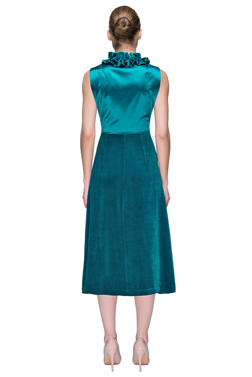 'Turquoise Rapture' Sleeveless Velour Midi Dress