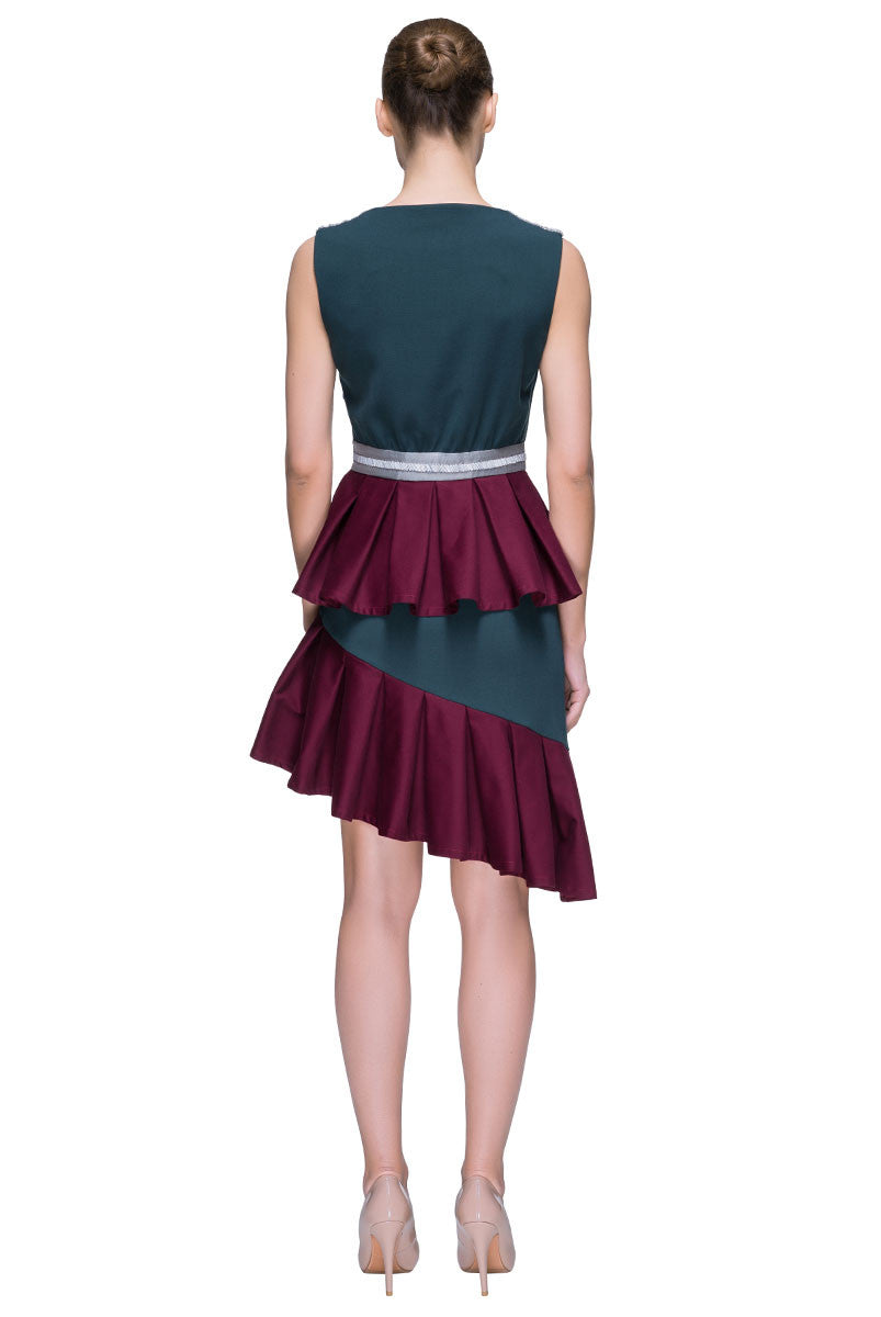 'Hot Start' Belted Asymmetric Sleeveless Ruffled Dress
