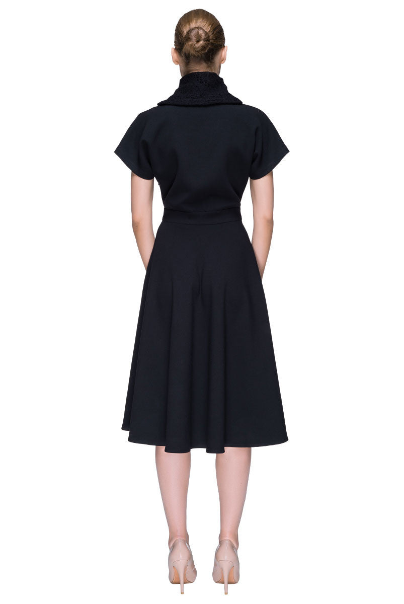 'Lucky Black Key' Elegant Midi Dress
