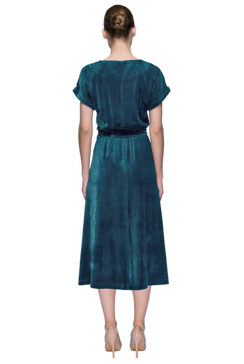 'Nostalgic Sky' Teal Blue Short Sleeve Silk Velvet Midi Dress