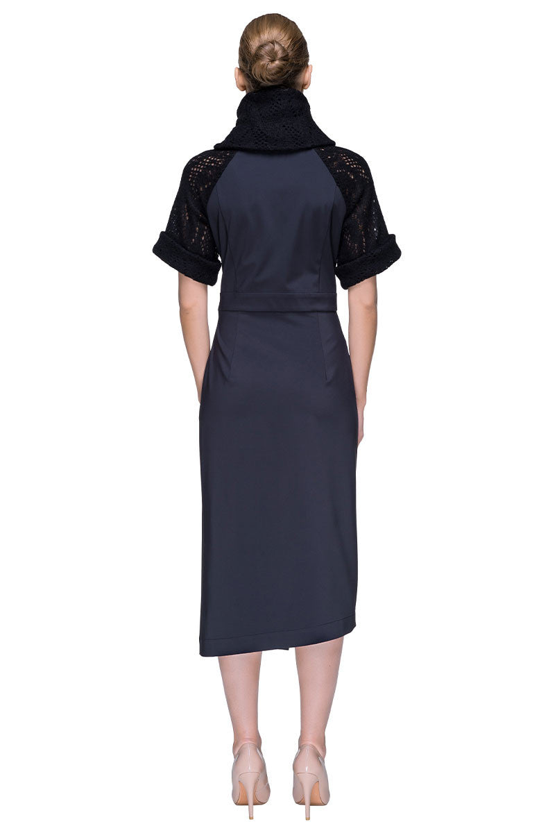 'Soft Black' Multi-textured Turtleneck Asymmetric Midi Dress