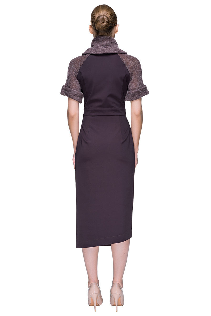 'Soft Surprises' Multi-textured Turtleneck Asymmetric Midi