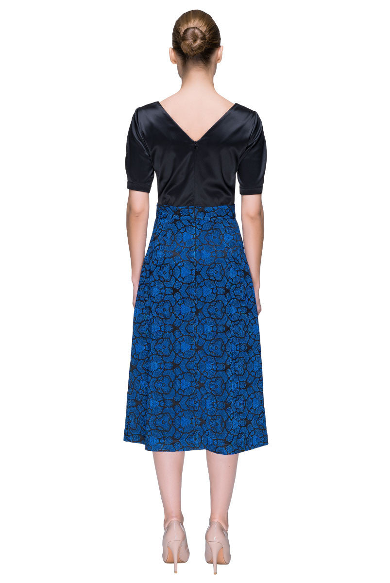 'Silky Sunrise' Black and Blue Multi-textured Midi Dress