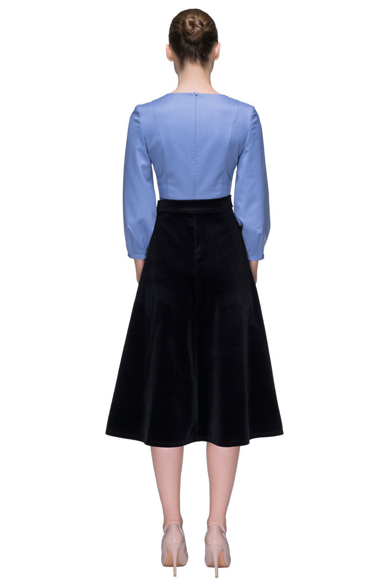 'Lady in Blue' Round Neck Combined Velvet Skirt Dress