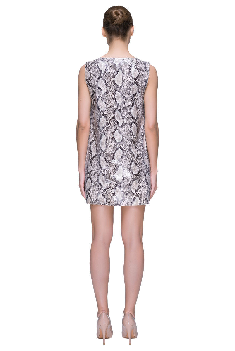 Sleeveless Python Print 'Little Leatherette Dress'