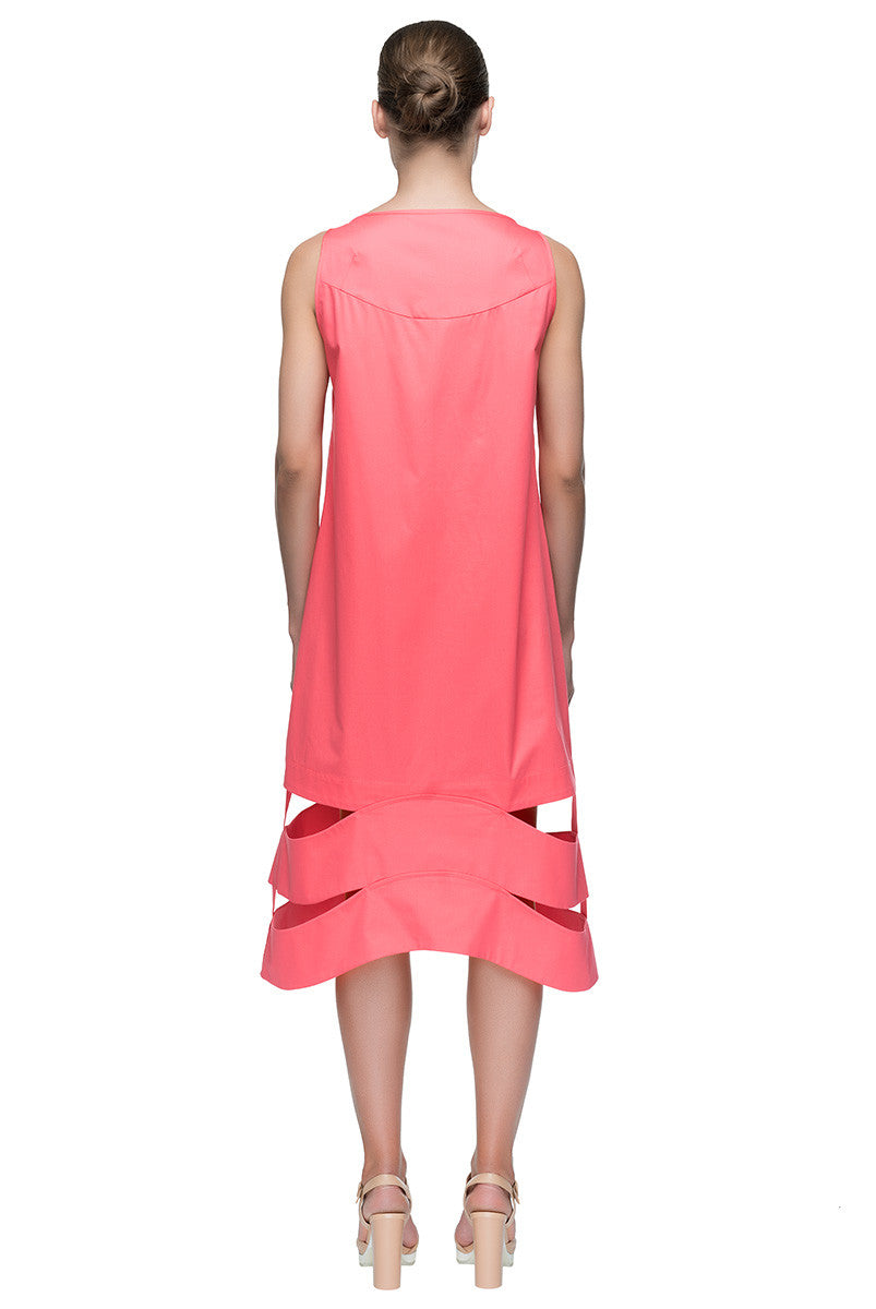 'Punch Pink Call' Pink Cut-Out Sleeveless Midi Cotton Dress