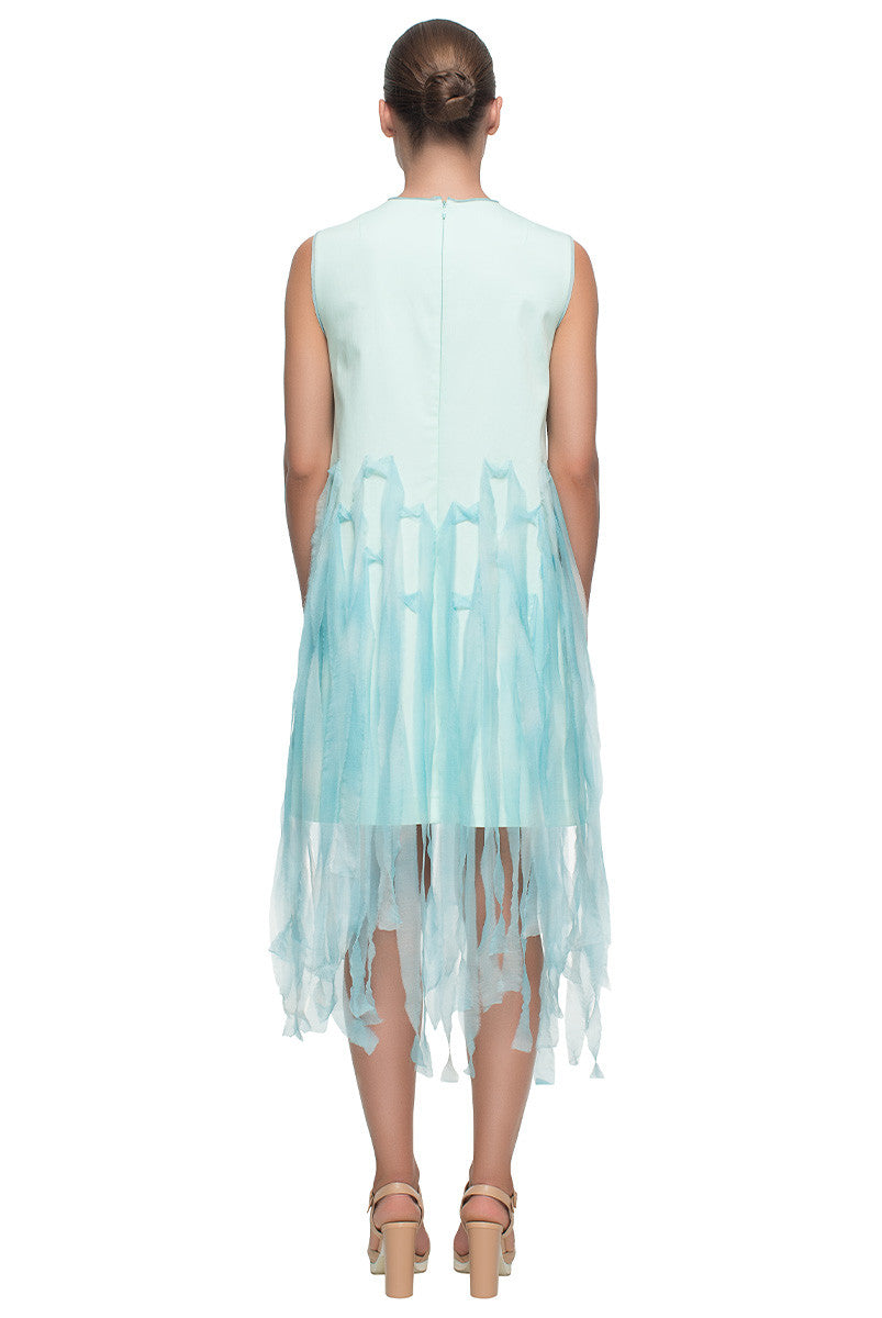 'Blue Chiffon Fantasy' Light Blue Cotton Dress