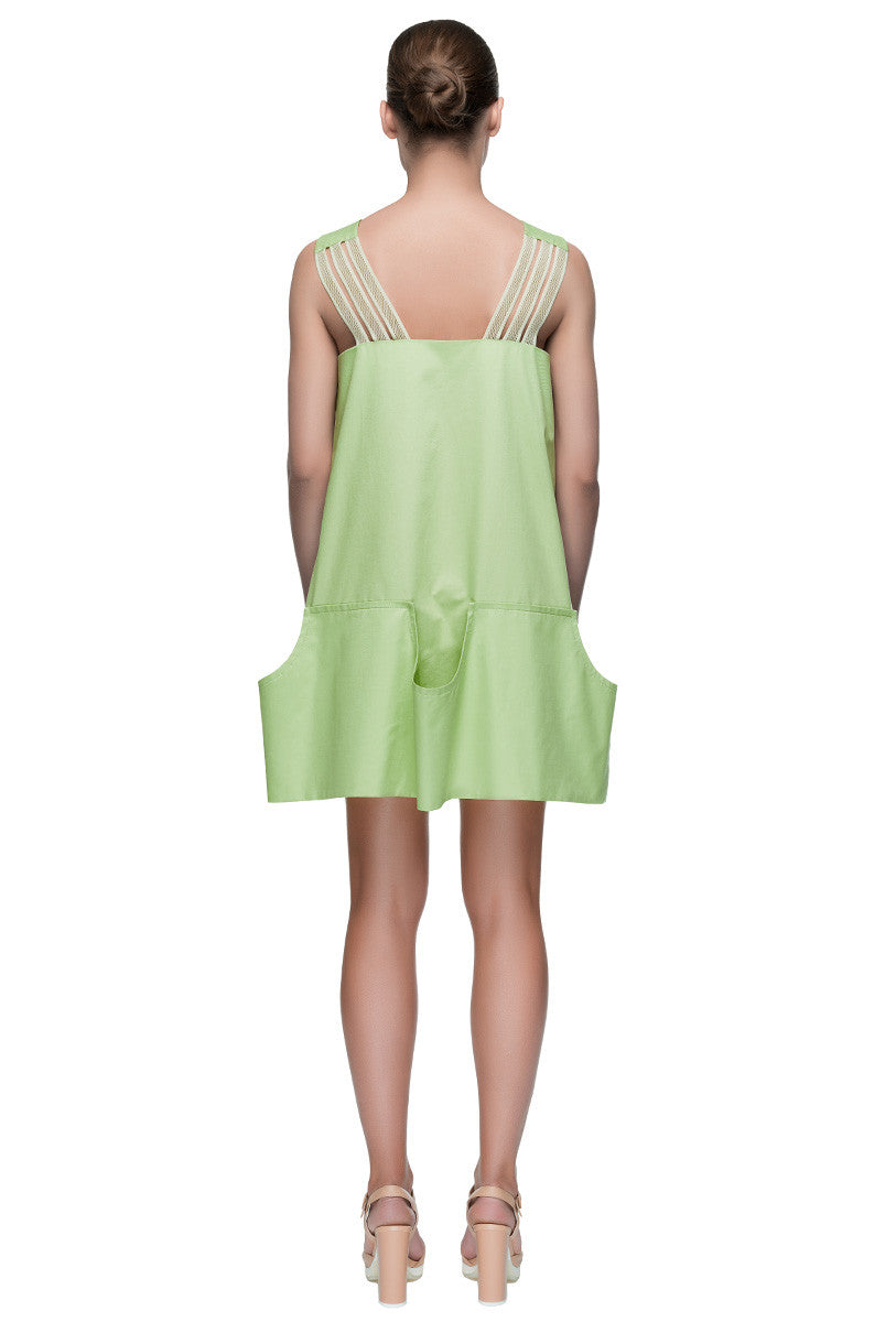 'Green Heart' Short Pale Green Sleeveless Summer Dress