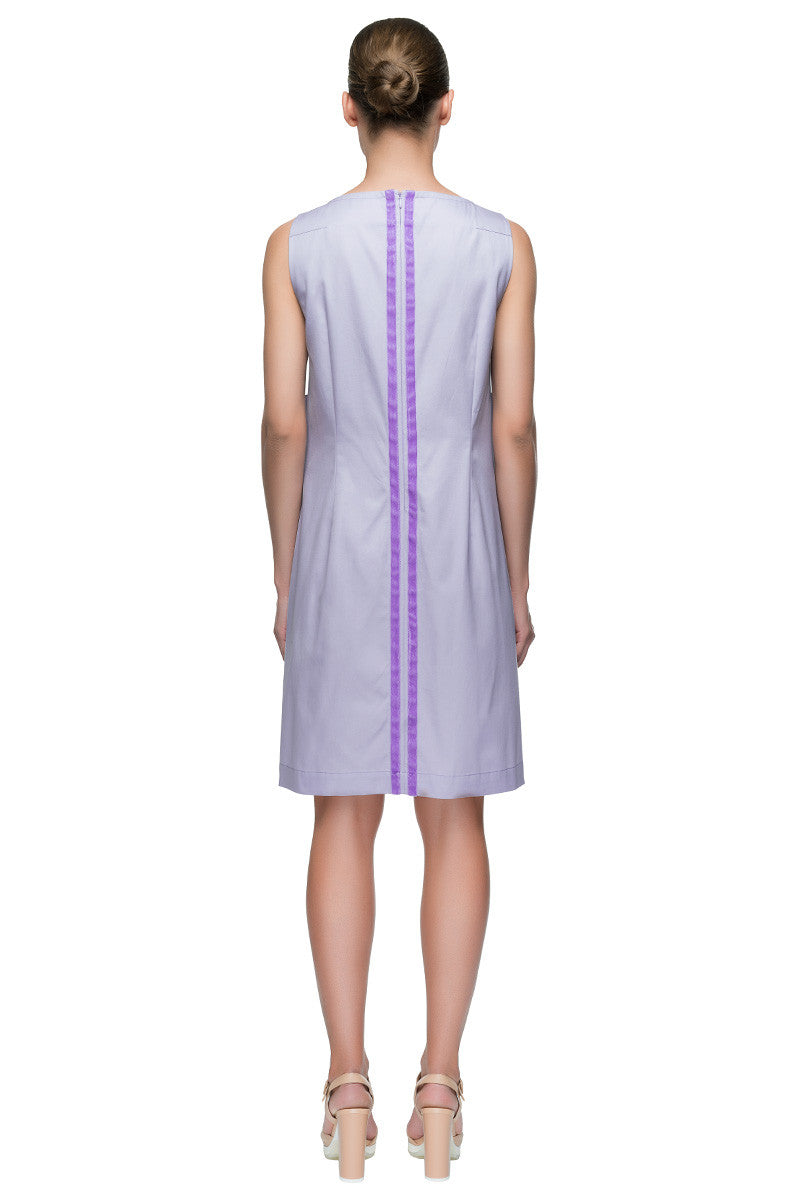 'Lilac Chance' Sleeveless Full Back Zipper Cotton Shift Dress
