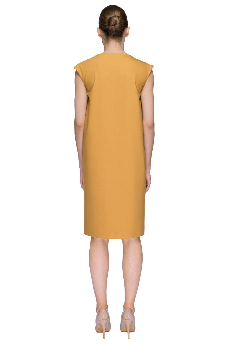 'Mustard Chic Touch' Sleeveless Knee Length Mustard Cocoon Dress