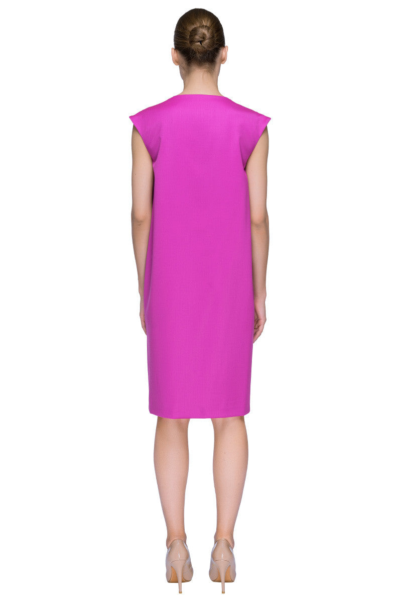 'Chic Fuchsia Touch' Sleeveless Knee Length Fuchsia Cocoon Dress