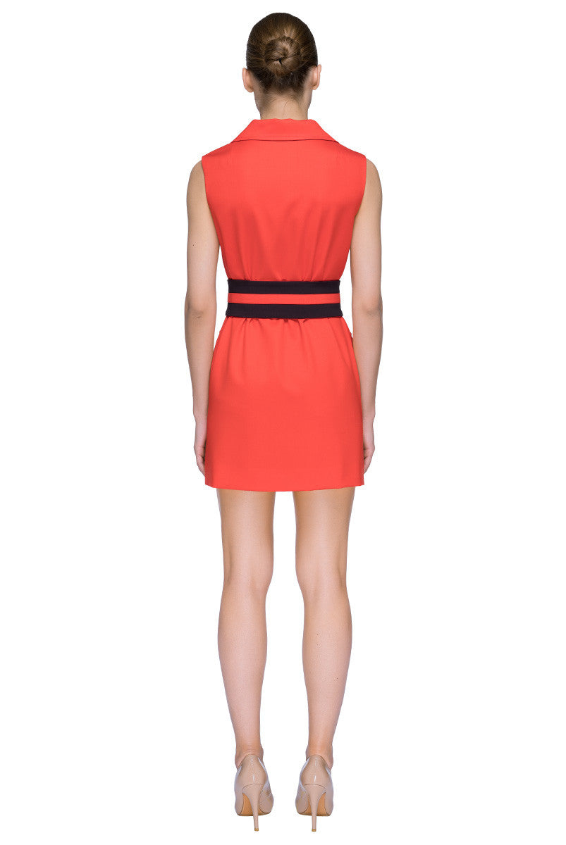 'Orange Shortcut' Sleeveless Belted Mini Dress