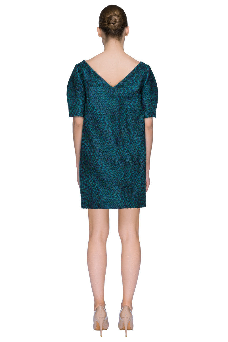 'Little Teal Treasure' Boat Neck Cocoon Mini Dress