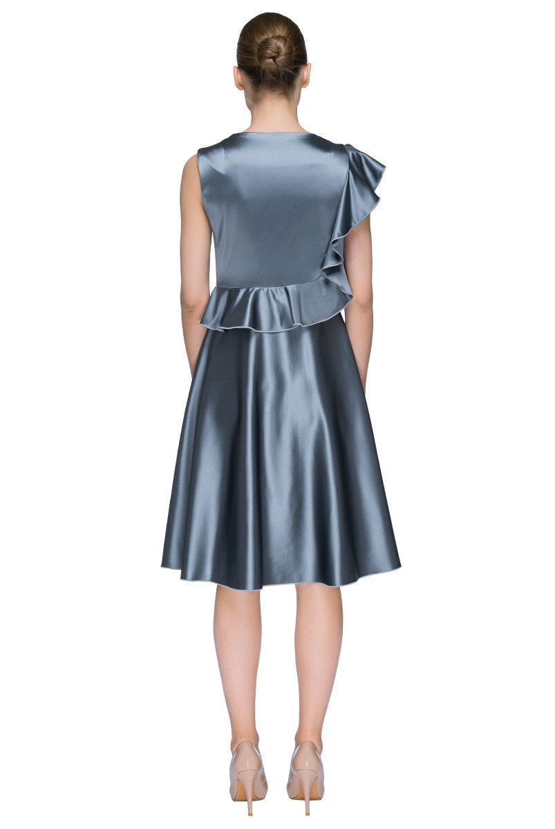 'Silver Atlas Dream' Sleeveless Designer Dress