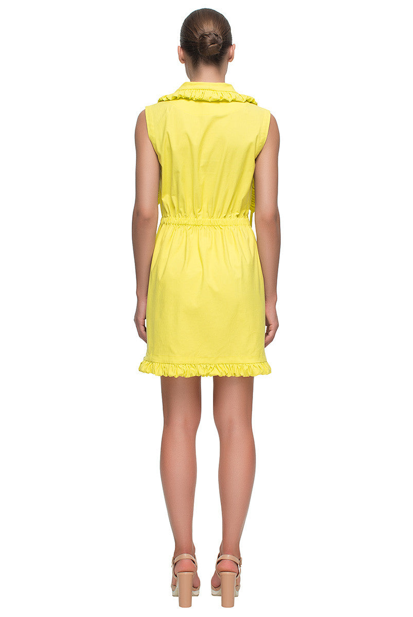 'Little Sunshine' Short Sleeveless Yellow Parka Dress