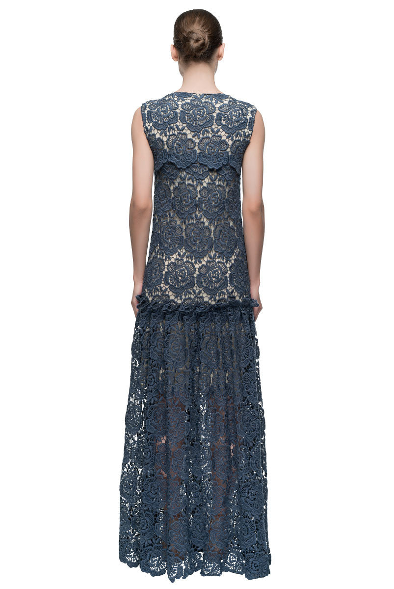 'Macramé Evening Star' Low Waist Sleeveless Maxi Dress