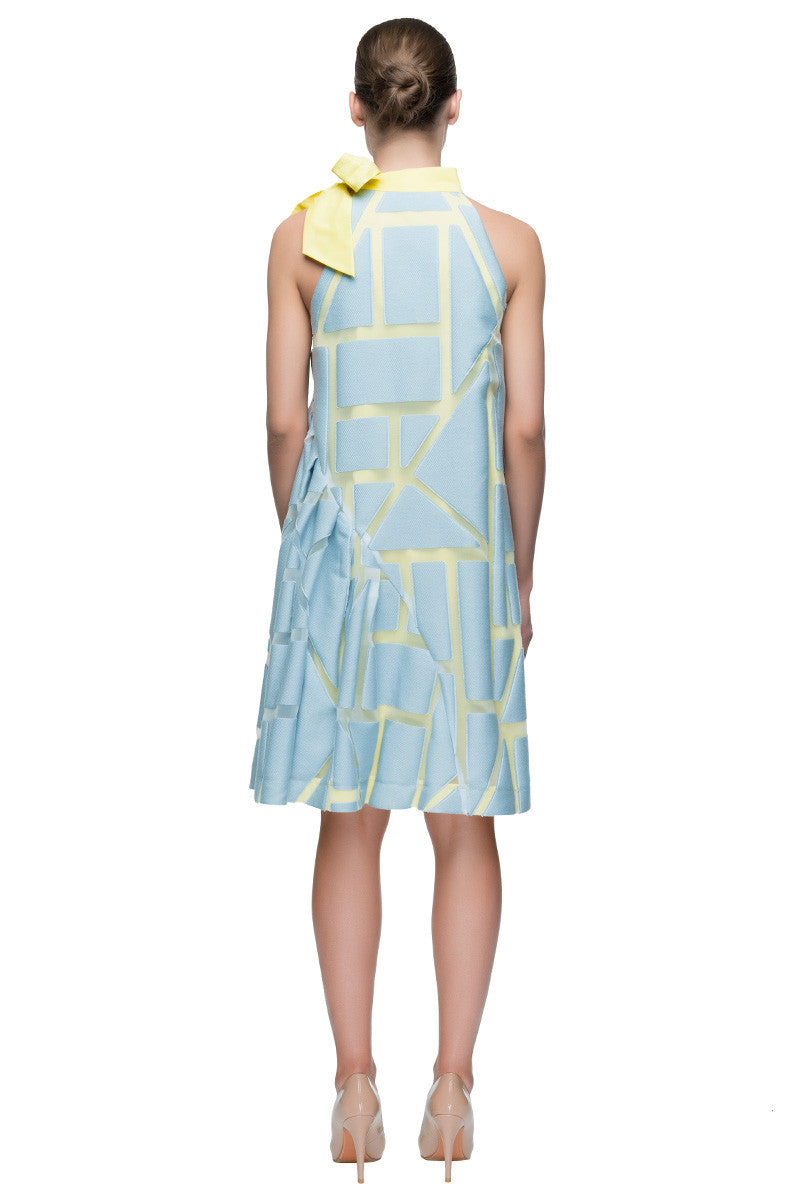 'Sunny Summer Joy' Asymmetric Sleeveless Bow Neck Dress