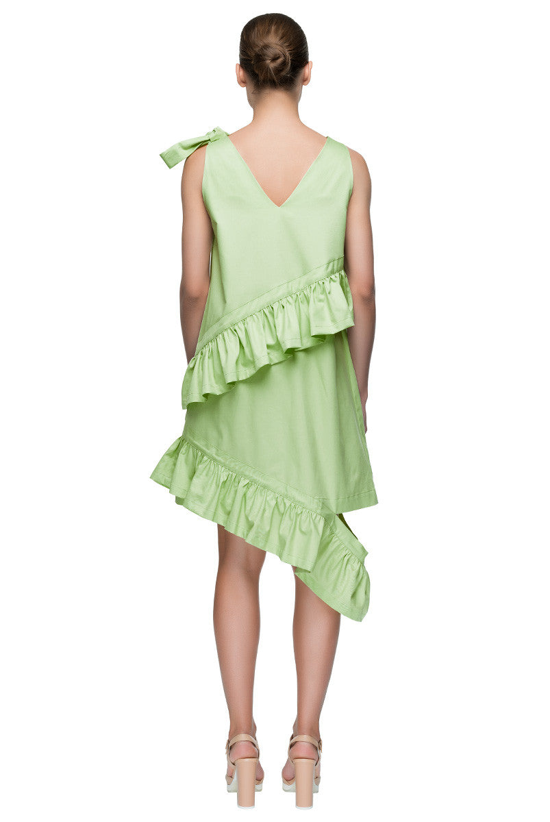 'Ruffled Gift' Sleeveless V-Neck Ruffled Asymmetric Bow Dress