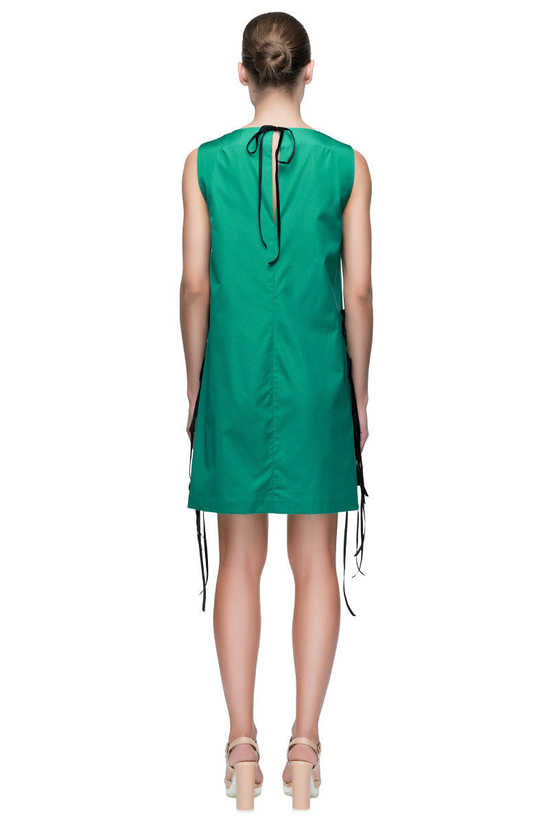 'Emerald Darling Dress' Sleeveless Cotton Emerald Green Shift Dress