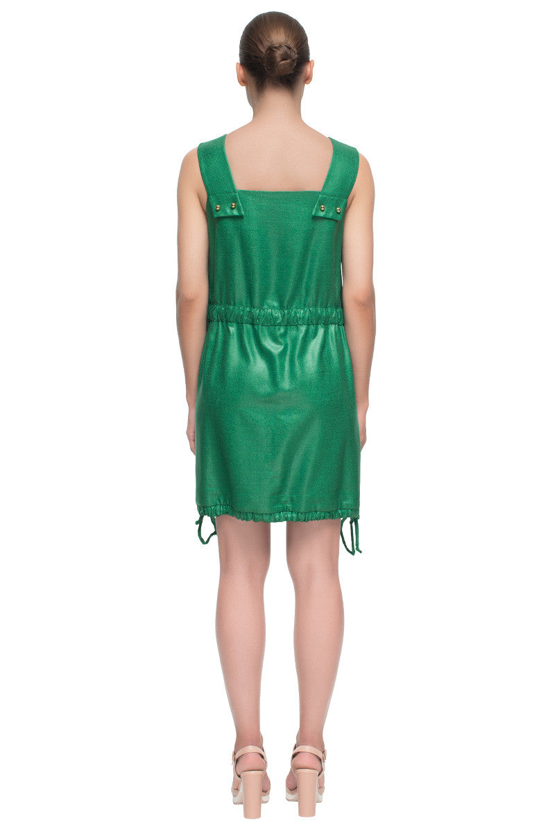 'Emerald Message' Short Green Sleeveless Pocket Dress