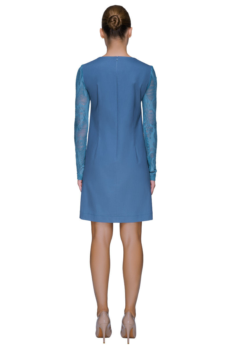 'Brave Love Talk' Fine Light Blue Denim Dress With Fancy Lace Sleeves