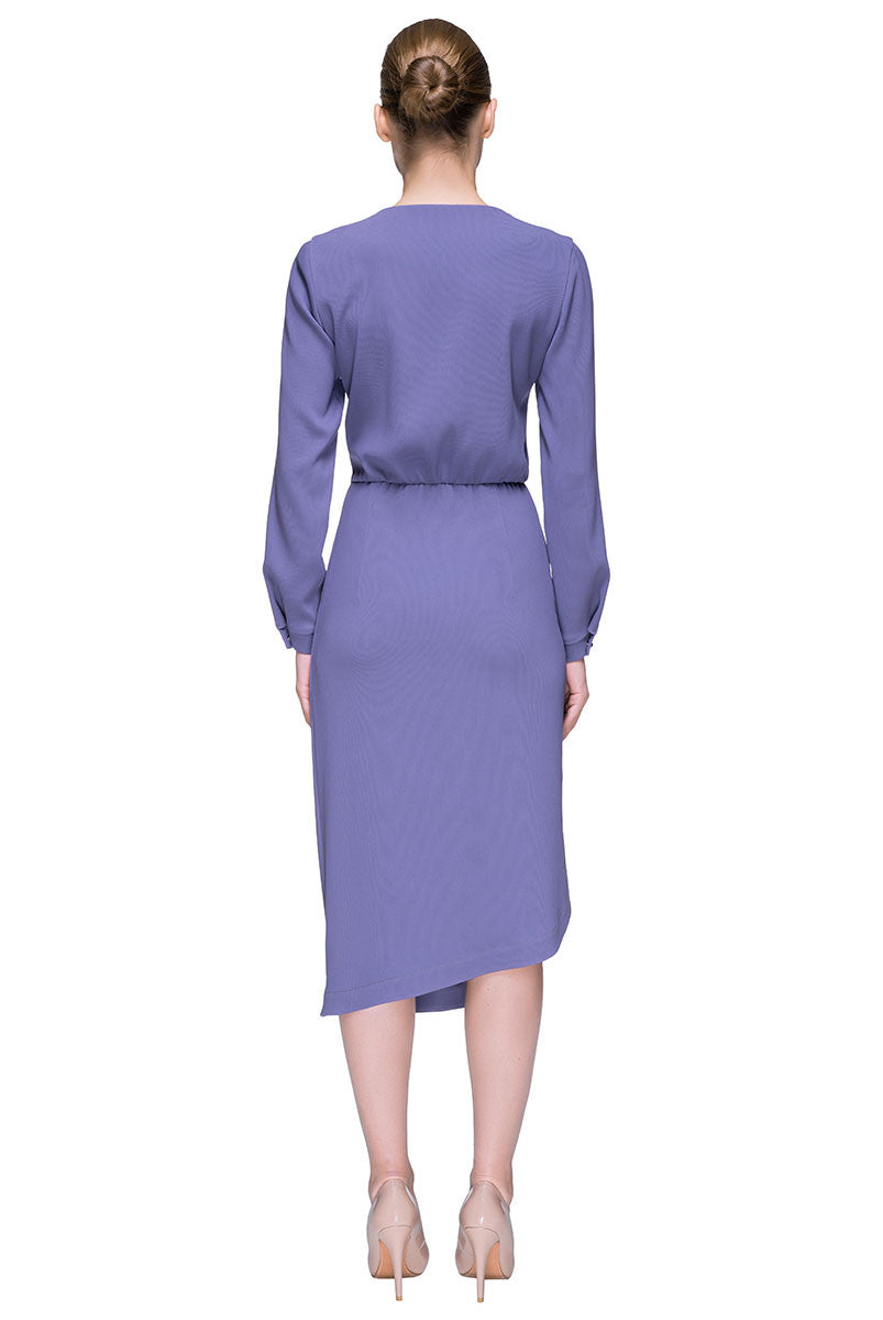 'Lady Violet' Long Sleeve Asymmetric Midi Dress