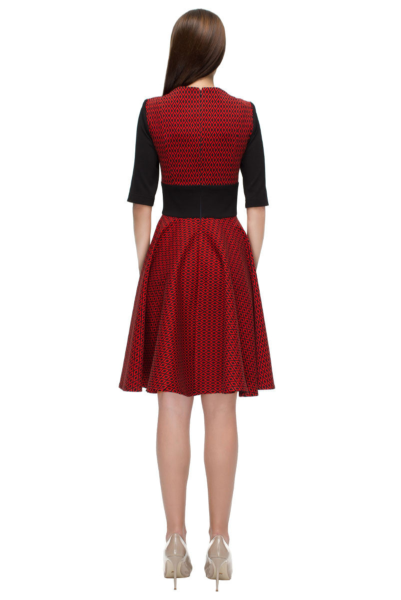 'Black and Red Charms' Elbow Length Sleeves Dress in New Look Style