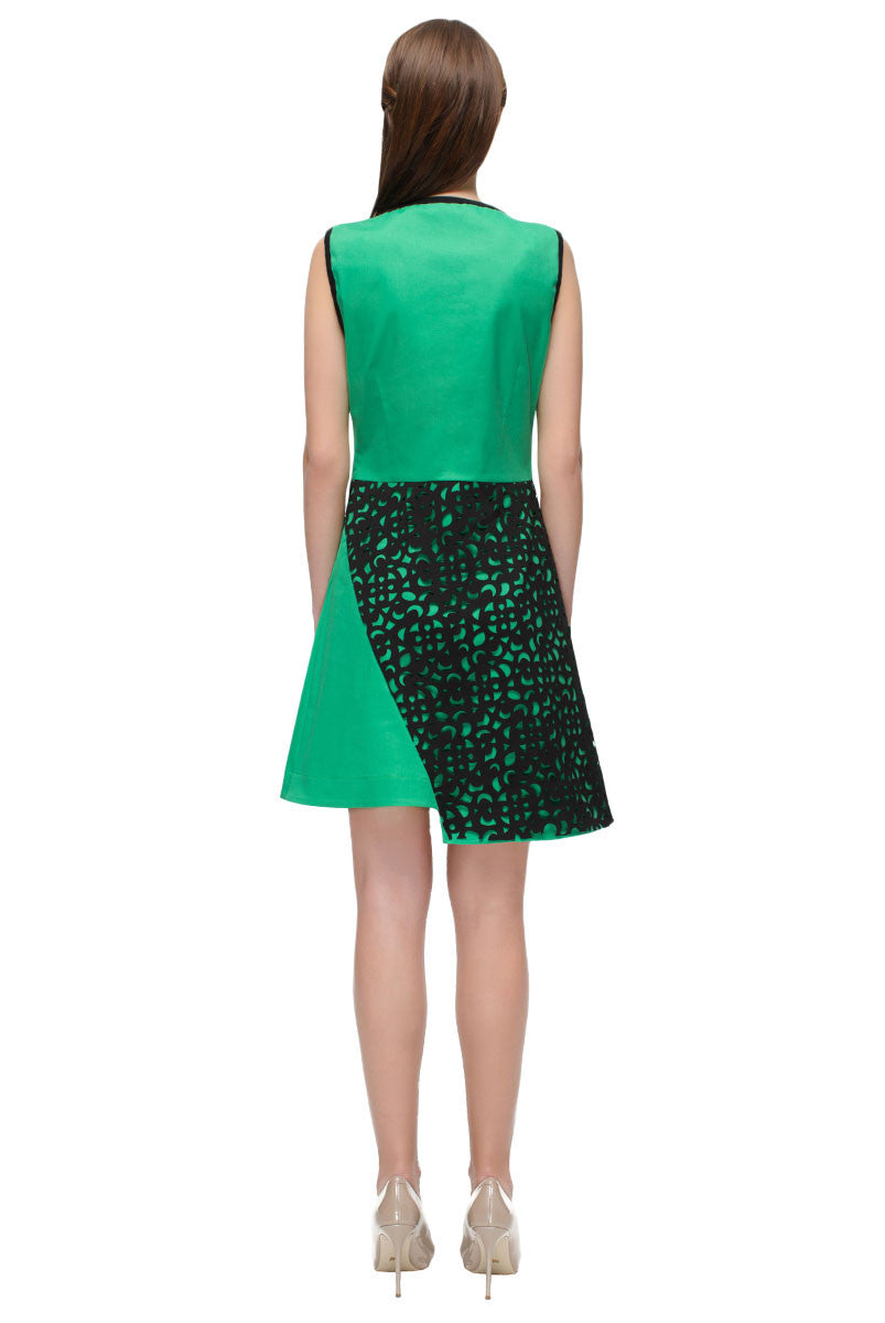 Green Dress with Black Perforated Detail