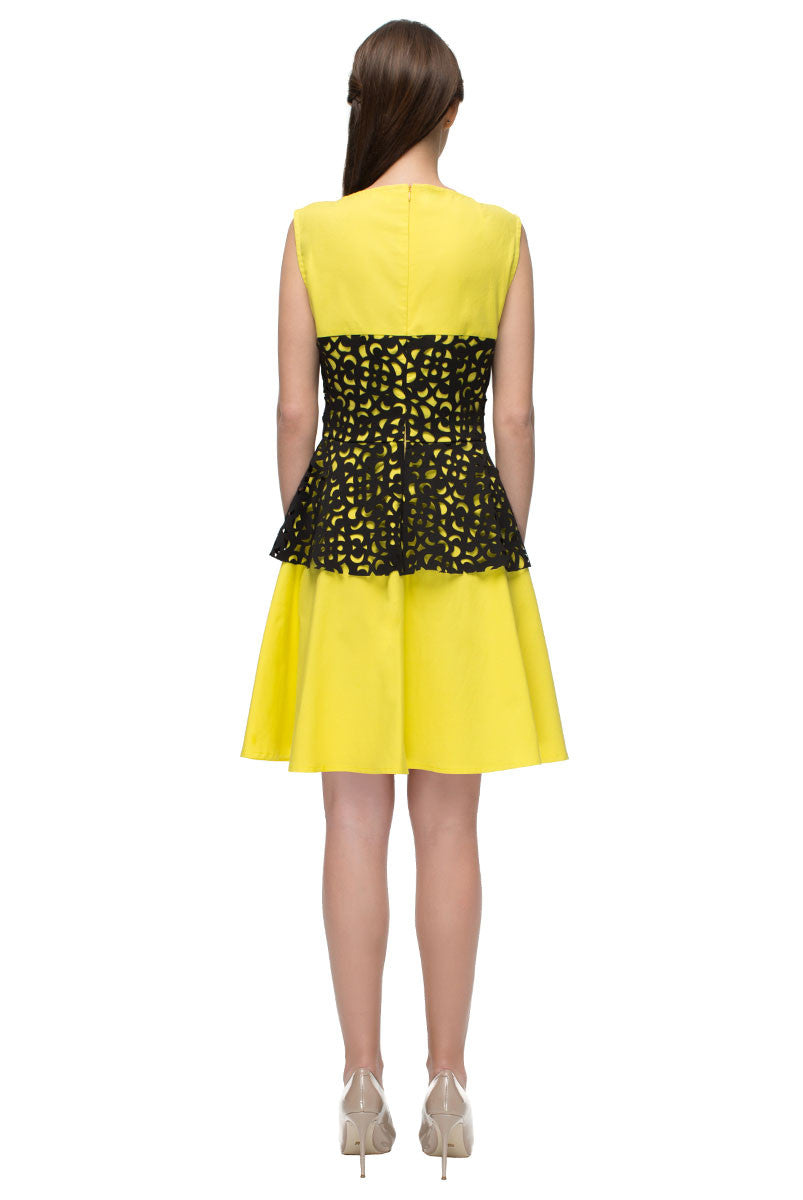 Yellow Dress with Black Perforated Details