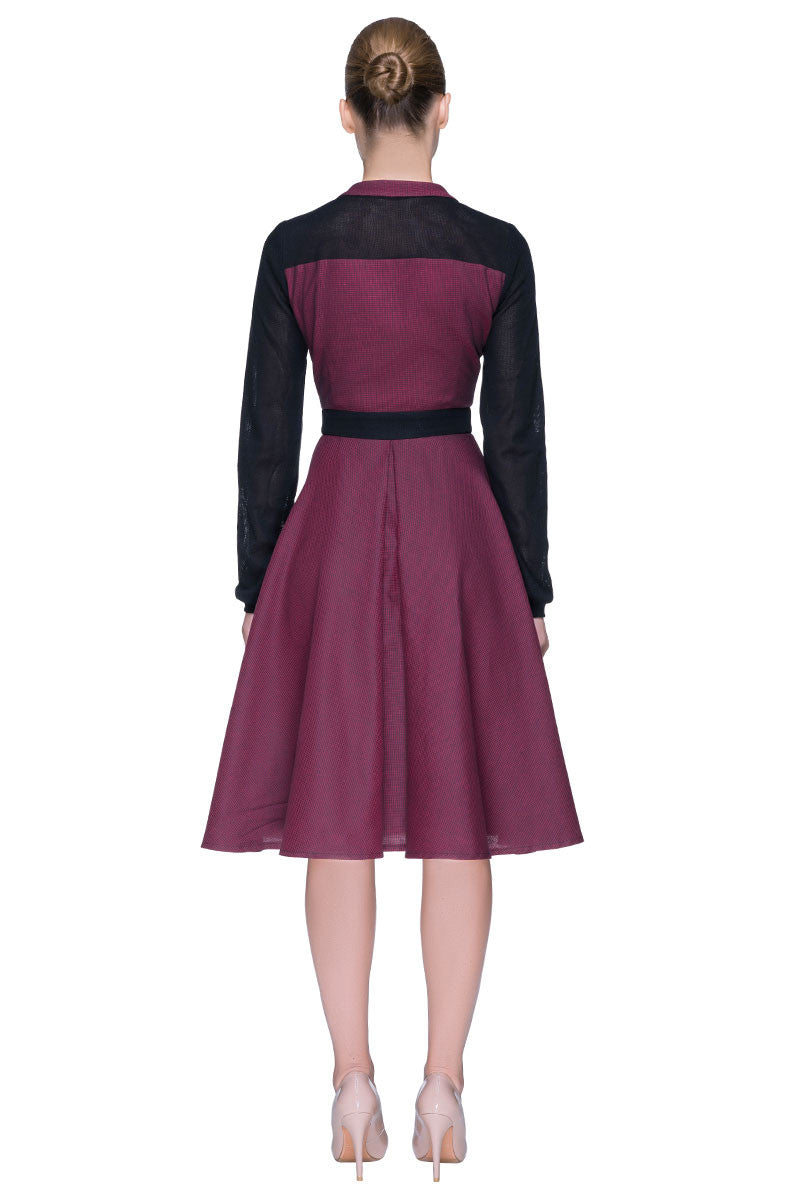 'Bella' Burgundy Midi Dress