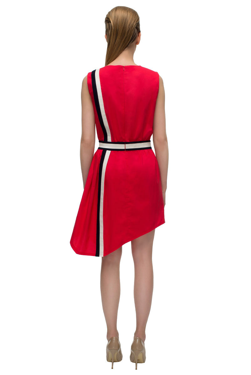 'Red Dress in Sport Chic Style'