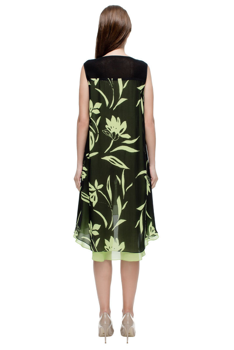 'Black and Green Chiffon Dress'