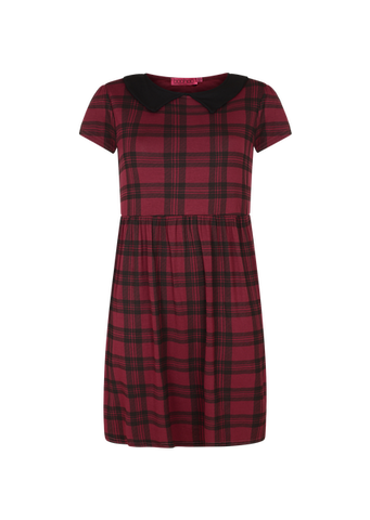 TARTAN COLLAR SMOCK DRESS