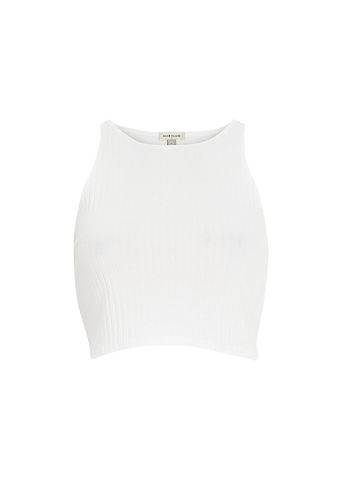 RIVER ISLAND WHITE RACER CROP