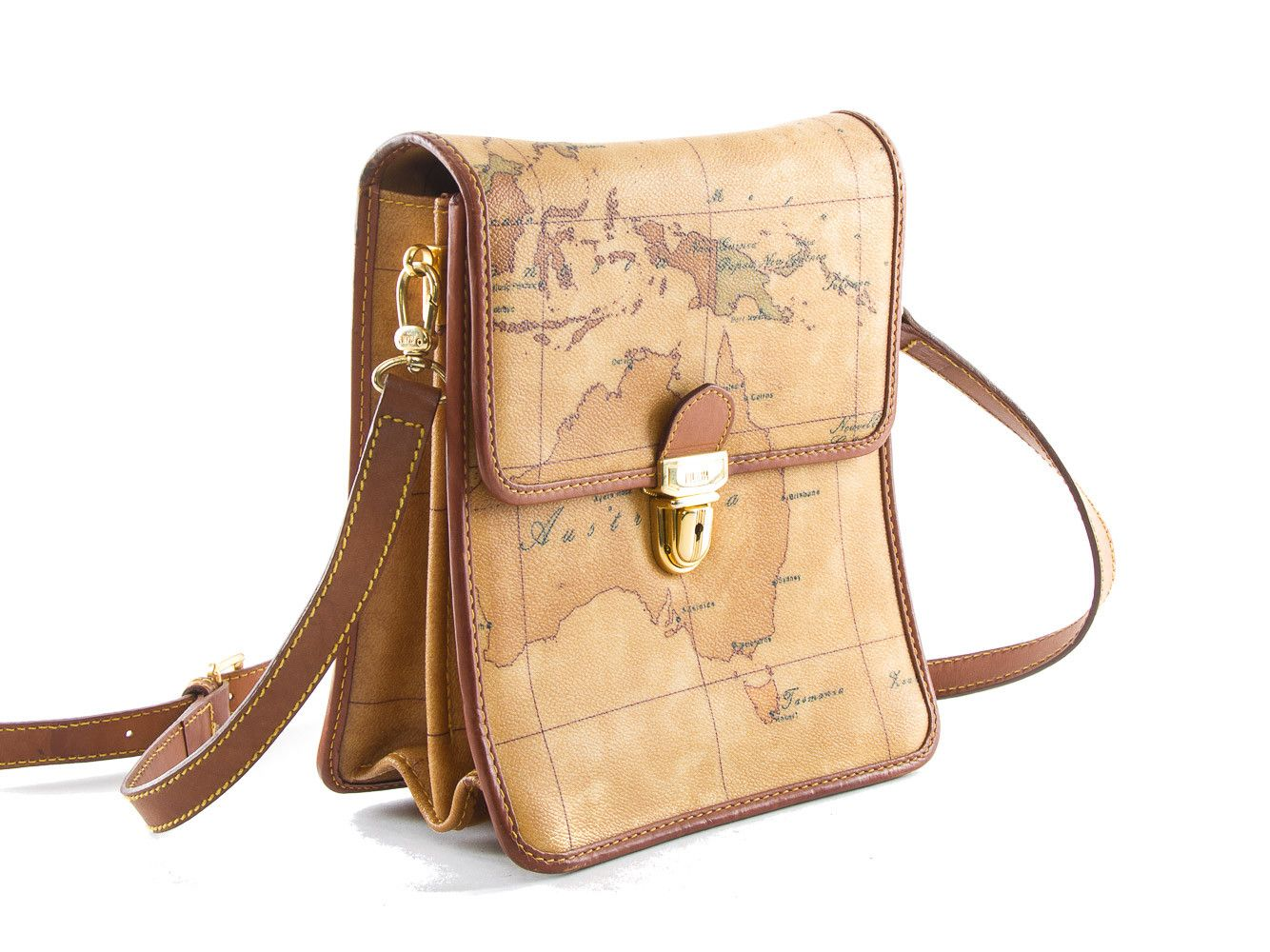 Authentic Alviero Martini Cle world map brown shoulder bag on map shoes, map luggage, map boots, map crossbody, map skirt, map phone case, map jacket, map scarf, map white, map trunk, map suitcase, map wallet, map sweater,