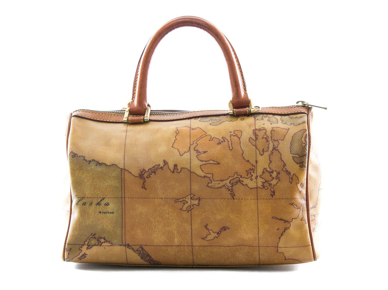 1e0eff953bd28 Authentic Alviero Martini Classe world map brown Boston bag - Connect Japan  Luxury - 1