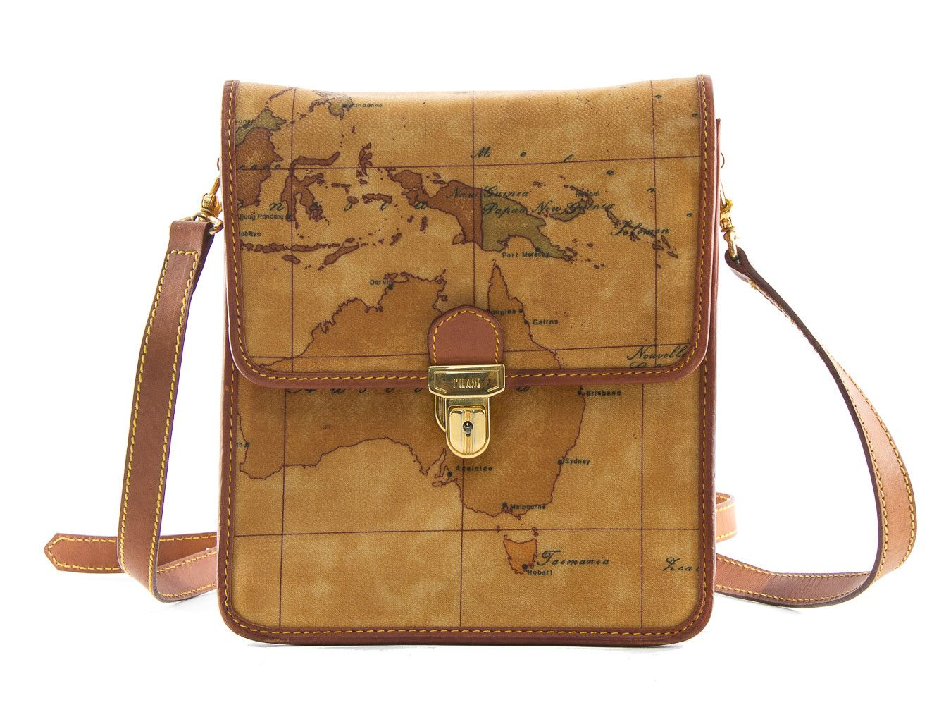 Authentic Alviero Martini Classe world map brown shoulder bag - Connect Japan Luxury - 1