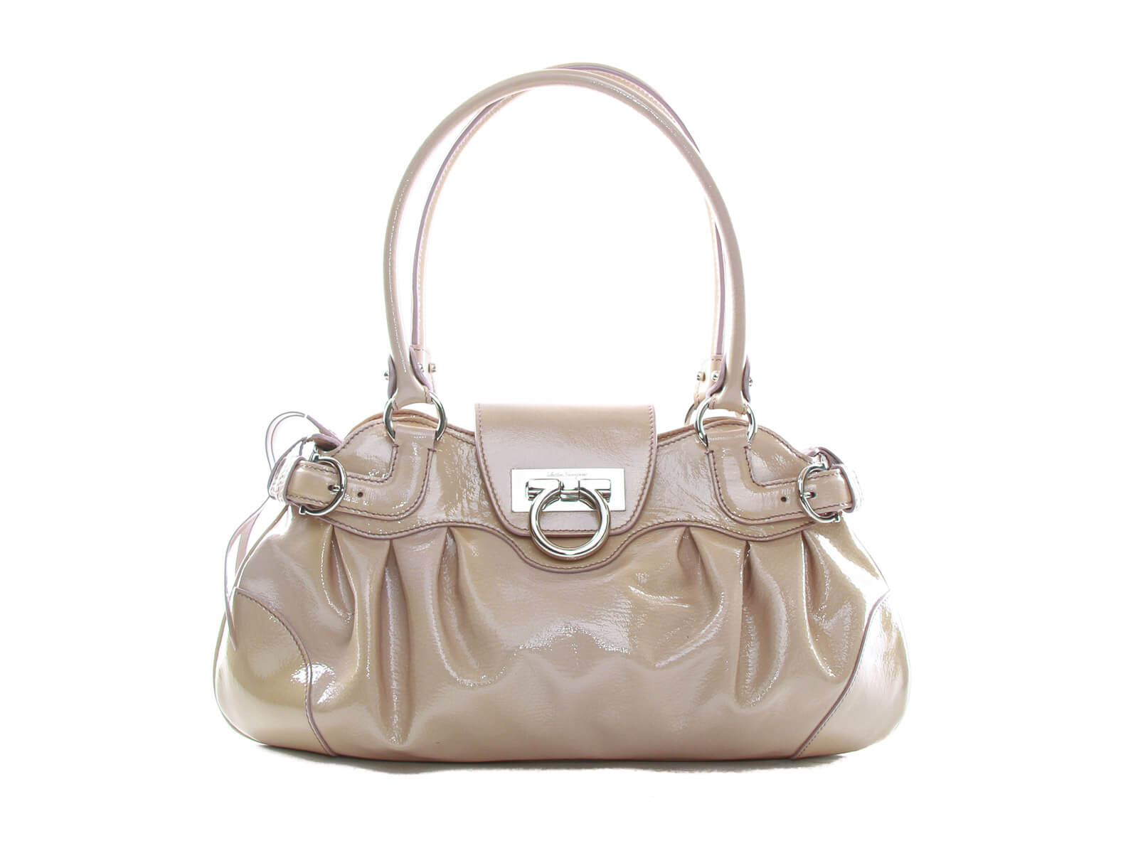 Authentic Salvatore Ferragamo beige patent leather shoulder bag