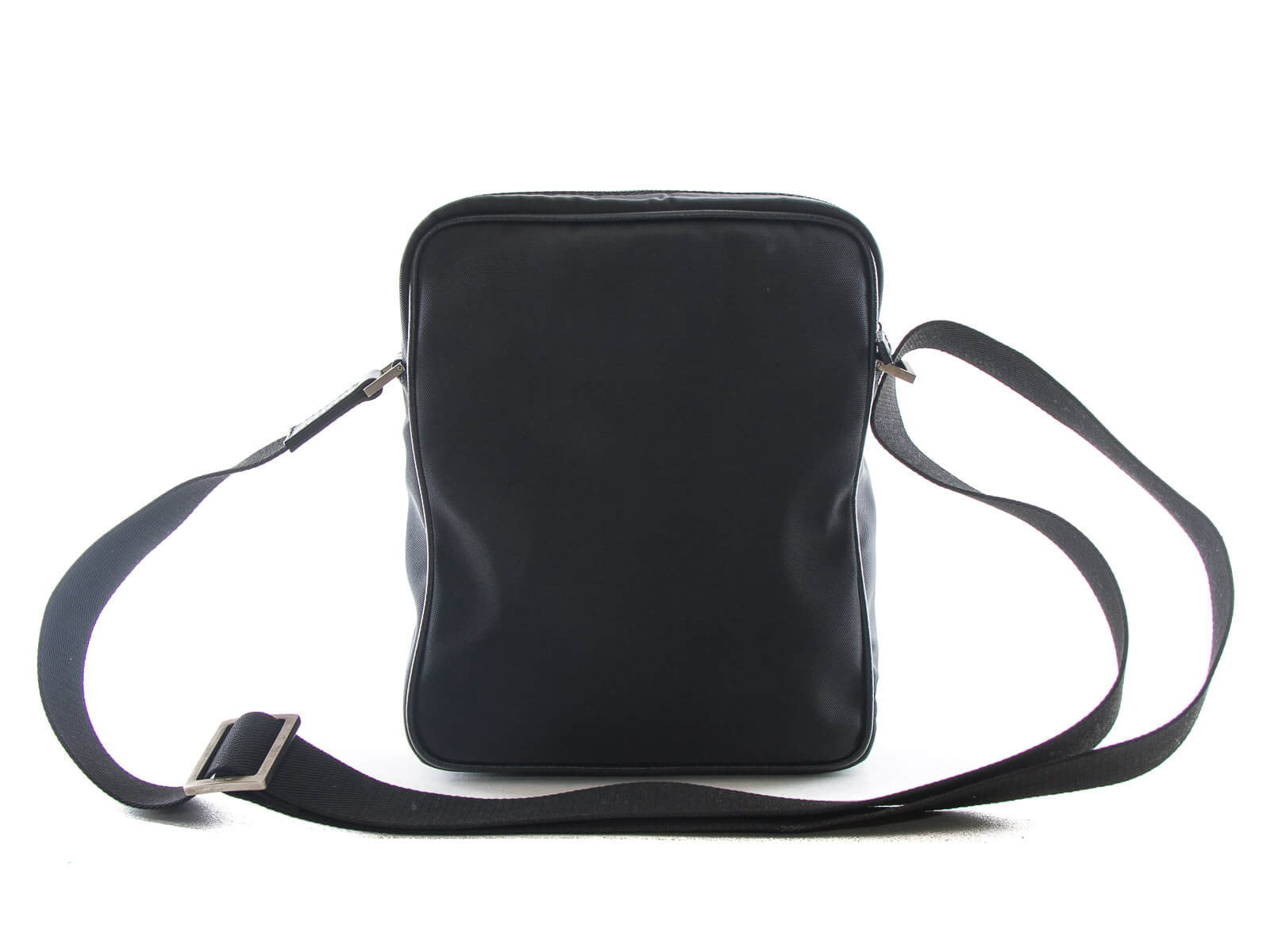 0bca109d20 ... Authentic Salvatore Ferragamo black leather nylon crossbody bag ...